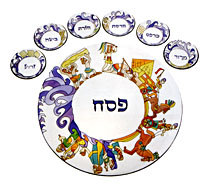 Painted Seder Plate By Emanuel - Exodus from Egypt