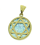 14K Gold Charm with Ancient Roman Glass