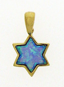 14K Star of David Pendant - Opal