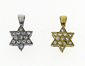 14K Gold Small Thick Star of David Pendant with CZ's