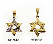 14K Gold Braided Star of David Pendant with CZ's