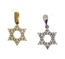 14K Gold Thick Star of David Pendant with CZ's