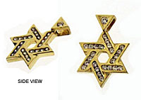 14K X-Thick Star of David Pendant with CZ's