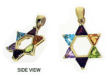 14K Gold Large Star of David Pendant - Stones