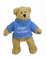 Plush Happy Hanukkah Bear - Blue
