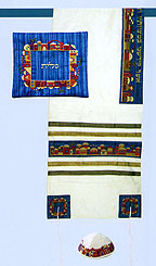 Embroidered Raw Silk Tallit Set - White