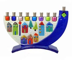 Fused Glass Menorah - Shofar Jerusalem