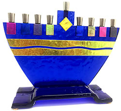 Fused Glass Menorah - Coblat Blue