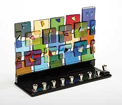 Fused Glass Menorah - Jerusalem Wall