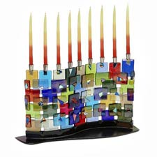 Fused Glass Menorah - The Wall - Kotel