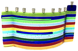 Fused Glass Menorah - Joseph's Coat