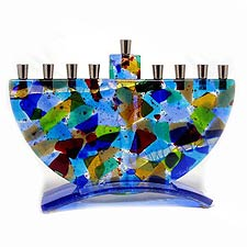 Fused Glass Rainbow Menorah