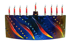 Fused Glass Designer Menorah - Dancing Flames