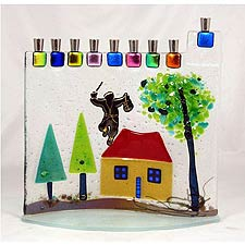 Fused Glass Menorah - Fiddler on the Roof