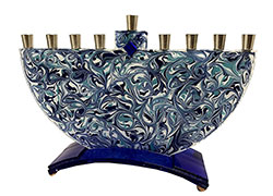 Fused Glass Menorah - Marbled Blue/Turquoise
