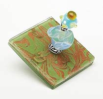 Fused Glass Bead Dreidel - Copper Leaf