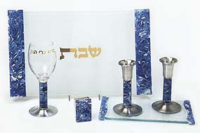 Fused Glass Shabbat Collection - Marbled Blue & Turquoise