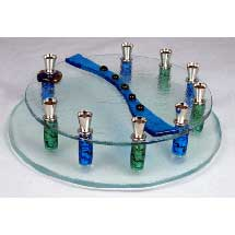 Fused Glass Menorah - Round with Beads