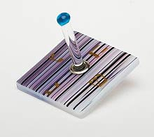 Fused Glass Dreidel - Purple Shade Stripes