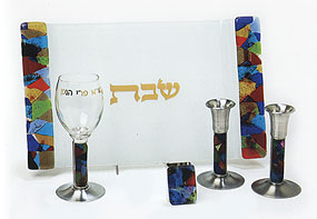 Fused Glass Shabbat Collection - Rainbow Fusion