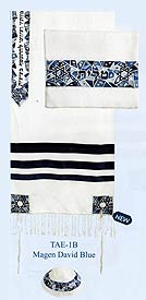 Raw Silk Embroidered Tallit Set - Blue Stars of David