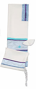 Elegant Soft Cotton Tallit Set - Blue's with Butterfly