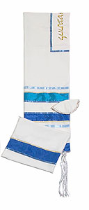 Elegant Soft Cotton Tallit Set - Blue/Gold