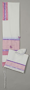 Elegant Soft Cotton Tallit Set - Pink/Lavender with Buterflies