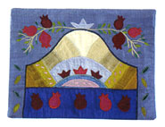 Raw Silk Tallit Bag - Pomegranates in Blue