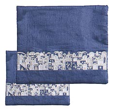 Embroidered Tallit/Tefillin Bag - White Jerusalem