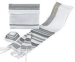 Bnei Ohr Wool Tallit Set - Grey/Maroon/Gold