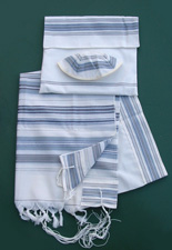 Bnei Ohr Wool Tallit Set - Light Blue/Silver
