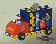 Wooden Childrens Tzedakah Box - BOY