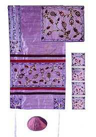 Raw silk Appliqu�d Tallit Set - Matriarchs in Pink