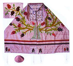Raw silk Appliqu�d Tallit Set - Tree of Life on Pink