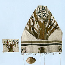 Emanuel Raw Silk Applique'd Tallit Set - Tree of Life
