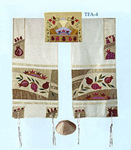 Emanuel Raw Silk Appliqued Tallit Set - Pomegranates in Gold