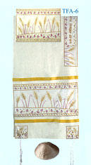 Emanuel Raw Silk Appliqued Tallit Set - Wheat