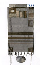 Emanuel Raw Silk Applique'd Tallit Set - Grey on Grey
