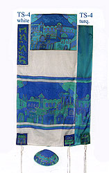 Emanuel Painted Silk Tallit Set - Jerusalem Gate in  Blue