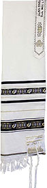 Wool Tallit with Star of David Ribbon - Black/Gold