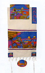 Emanuel Silk & Cotton Tallit Set - Jerusalem Gate in Color