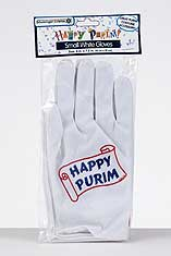 Happy Purim White Gloves - Small
