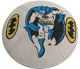 Hand Painted Suede Kippah - Batman