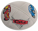 Hand Painted Suede Kippah - Cars