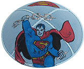 Hand Painted Suede Kippah - Superman
