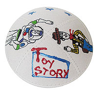 Hand Painted Suede Kippah - Toy Story