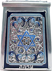 Star of david Gemstone Tzedakah Box - Blue / Silver