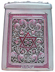 Star of david Gemstone Tzedakah Box - Pink / Silver
