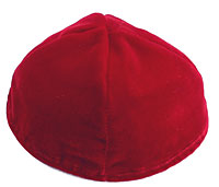 Velvet Lined Kippot - Red